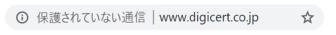 Google Chrome での表示(HTTPS 非対応のイメージ)