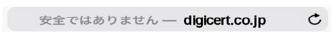 Apple Safari での表示(HTTPS 非対応のイメージ)